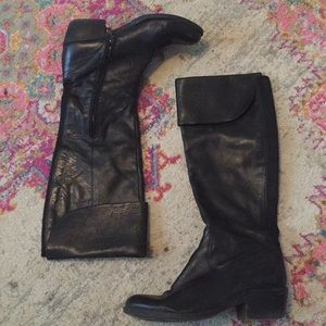 Guess Black Leather OTK Boots